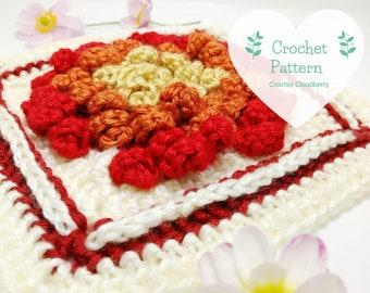 Chrysanthemum Granny Square Pattern, crochet pattern, crochet squares, granny squares, crochet square pattern, autumn crochet, fall decor
