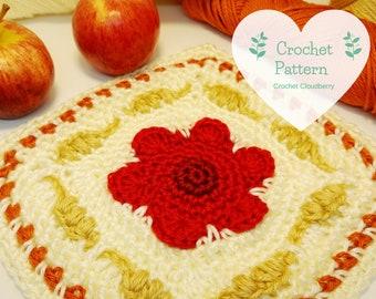Poppy and Corn Granny Square Pattern, crochet pattern, crochet squares, granny squares, crochet square pattern, autumn crochet, fall decor