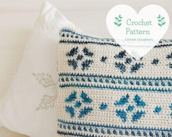 Snowflake Crochet Cushion Cover Pattern, Crochet Snowflake Pattern, Crochet Pillow Pattern, Hygge Pillow, Snowflake Pillow, Hygge, intarsia