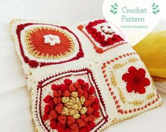 Fall in New England Crochet Cushion Cover Pattern, Granny Squares, Crochet Pillow Cover Pattern, Autumn Crochet Patterns, Fall Crochet