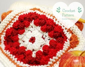 Cranberry Pie Granny Square Pattern, crochet pattern, crochet squares, granny squares, crochet square pattern, autumn crochet, fall decor