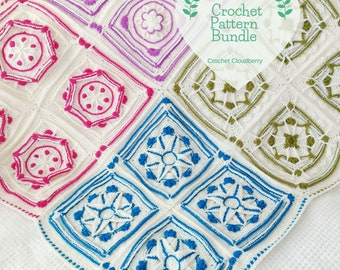 Crochet Blanket Pattern, Crochet Lapghan Pattern, Granny Square Pattern, Pattern Bundle, Crochet Patterns, Crochet Throw Pattern