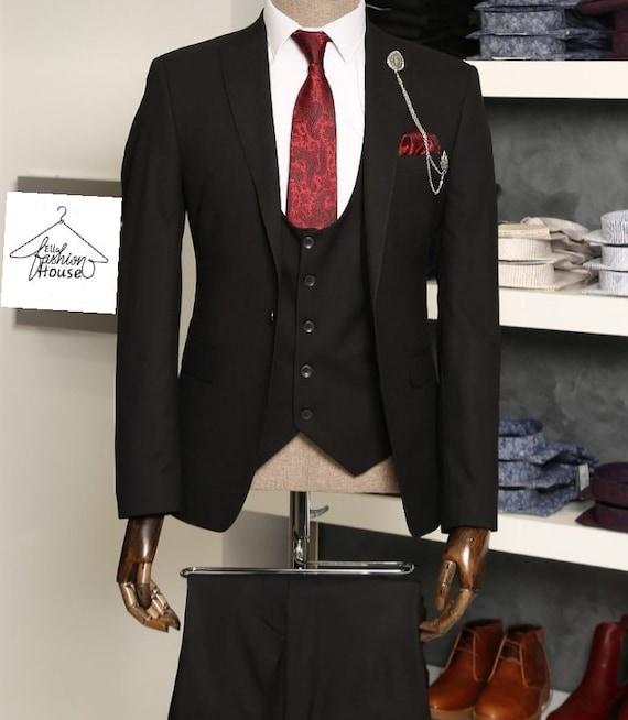 40L 32W New Mens Western Wear Suit Black Swedish Warp