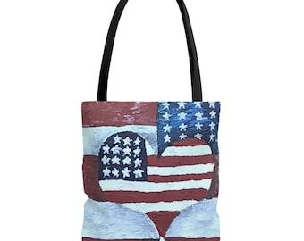 New Small Handmade Americana Flag Flowers Summer Country Denim Tote Bag