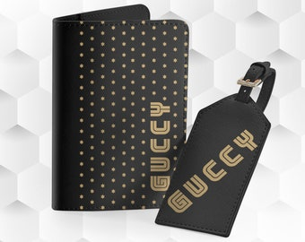 ad4c5c1c634ed6 Vintage Gucci Pass Cover Personalized Luggage Tag Custom Passport Cover Gucci  Card Holder Travel Wallet Gucci Organizer Baggage Tag FS0089