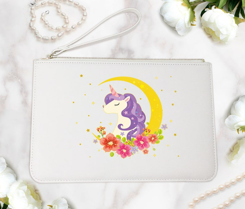 Moonlight Unicorn Clutch Bag Cute Makeup Pouch Women Boutique Shopping Bag Teenagers Pouch Unicorn Logo Saffiano Italian Leather FS0207