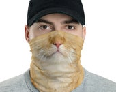 Orange Cat Neck Gaiter, Funny Cat Face Mask, Cat Costume, Face Covering, Unisex Face Shield, Kitty Neck Scarf, Balaclava Riding, Cute Kitten