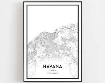 picture relating to Printable Map of Havana named Havana map Etsy