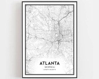 Road Map Of Atlanta Georgia.Atlanta Street Map Etsy