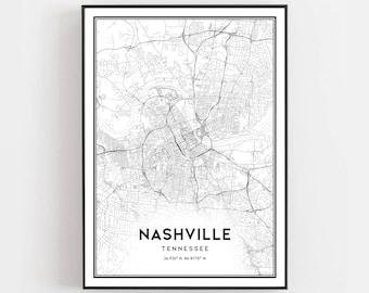 photo regarding Printable Map of Nashville named Nashville map print Etsy
