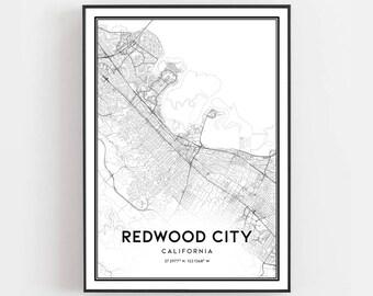 Redwood city ca map | Etsy