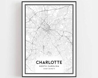 on charlotte nc city map