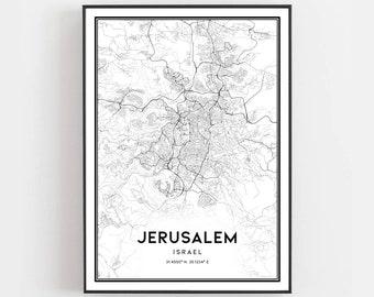 Jerusalem Map Jerusalem Wall Art Blue Map Print Fine Art Print Home Decor Map Wall Art Street Map Decor Housewarming Gift