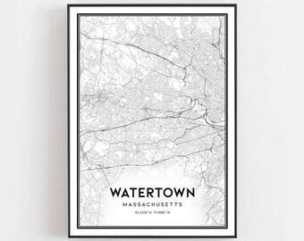 Watertown map   Etsy