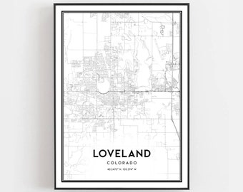 Loveland co map | Etsy