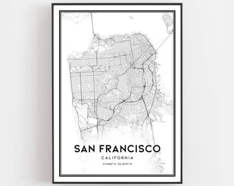 graphic regarding San Francisco Maps Printable called San francisco map Etsy