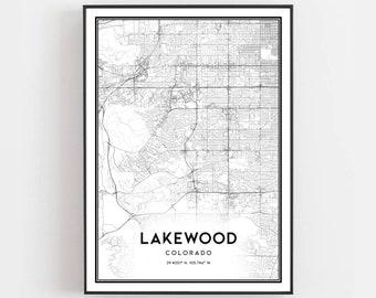 Lakewood co map | Etsy
