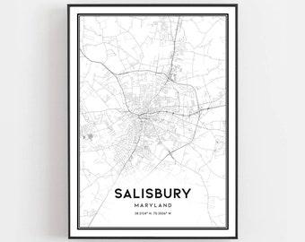Salisbury md map | Etsy