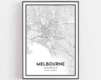 Melbourne Australia On A Map.Melbourne Map Etsy