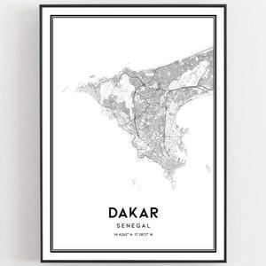 Dakar Map Print Dakar Map Wall Art Senegal Map Print Custom Map Print Dakar City Map Map Of Dakar Ships From EU /& USA