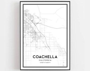 Coachella Map Print, Coachella Map Poster Wall Art, Ca  City Map, California Print Street Map Decor, Road Map Gift, B1490