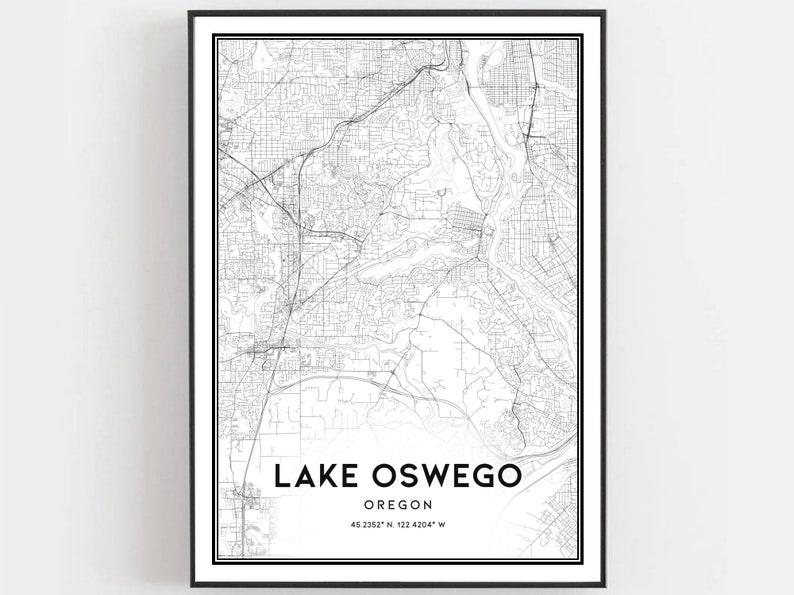 Lake Oswego Map Print Lake Oswego Map Poster Wall Art Or image 0