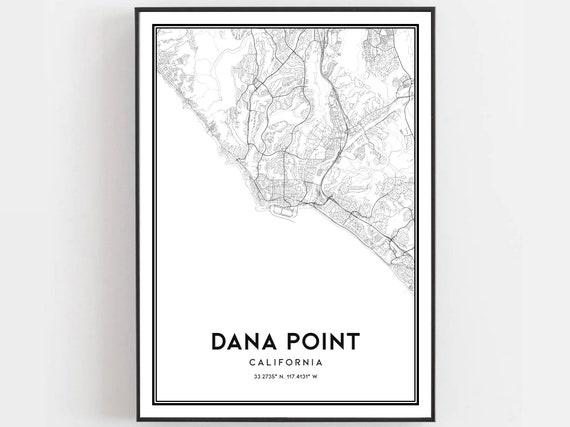 Office Decor California Map Print Dana Point Map Art Custom Map Maps Prints World Gift Travel Interior Design Art City Map