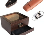 Renzo Glass Top Humidor with Cigar Cutter, Ashtray, and Travel Cigar case Bundle