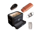 Octodor Humidor with cigar lighter, cutter, ashtray, and travel cigar case bundle