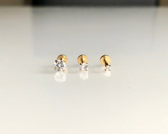 5edf820cb 6mm 16G Gold Round Clear Stone Nose/Helix/Lip/Tragus Labret Stud Earrings  Flat Back Piercing Cartilage 2mm 3mm 4mm