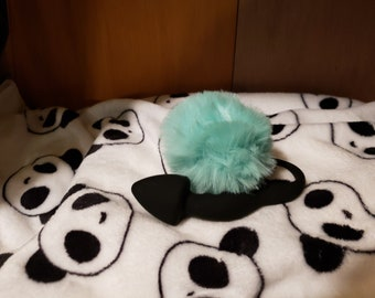 90614c31ad0 Curved Comfort Butt Plug Black w  Mint Green Pom Pom Tail
