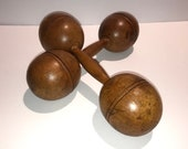 Pair of solid Maple wooden dumbbells, early 1900 39 s. Very good condition. 1.25 pounds each.