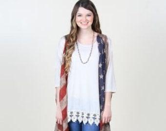 157b7d7fdc82d Summer Sheer USA American Flag Vest Kimono Cover Up