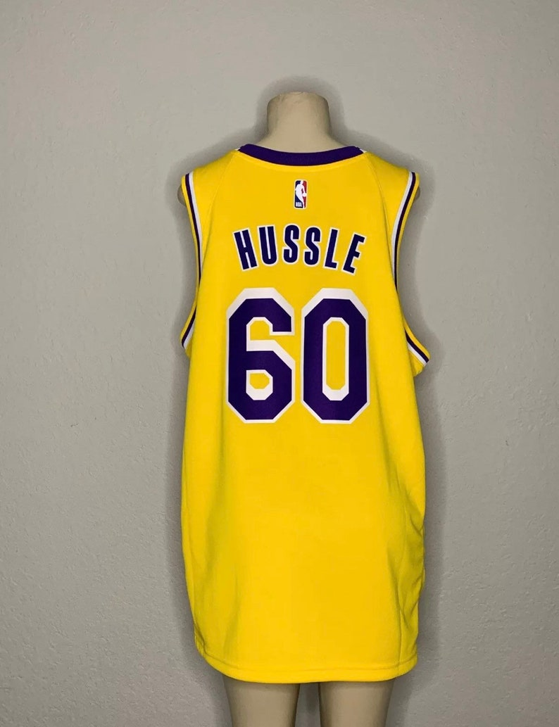 quality design c94bc 415ab Men's Authentic Nike Lakers Jersey: Hussle #60