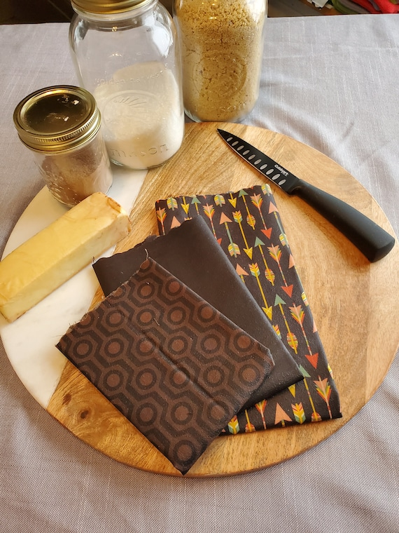 Food film (kit of 3 ) washable and durable in fabrics and beeswax - Zero waste - Bee Wrap