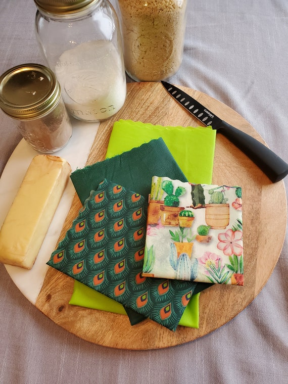 Food film (kit of 4 ) washable and durable in fabrics and beeswax - Zero waste - Bee Wrap