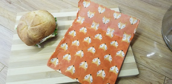 Eco-friendly, washable and durable sandwich bag made of fabrics and beeswax - Zero waste - Bread slice format