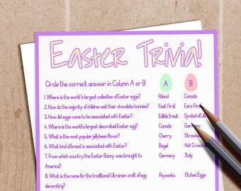 graphic regarding Easter Trivia Printable named Easter video game Etsy