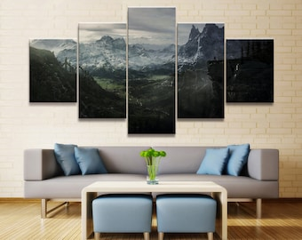 Home Decor Modular Canvas Picture 5 Piece Elder Scrolls V Skyrim Game Painting Poster Wall For