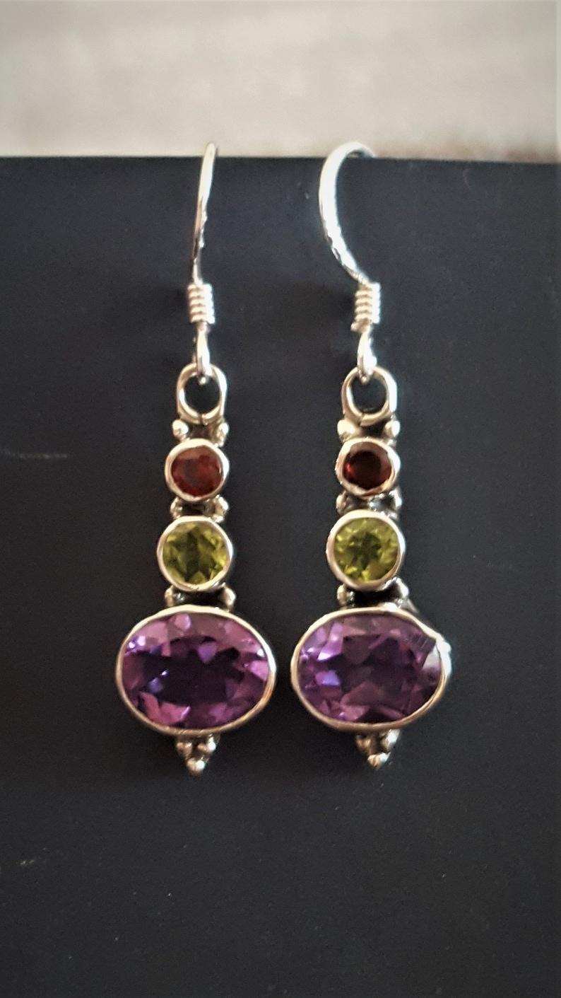 Multistone Earrings Amethyst Multistone and Silver Earrings Handmade Earrings Peridot /& Garnet Earrings 925 Sterling Silver Earrings