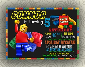 Lego Invitations Etsy