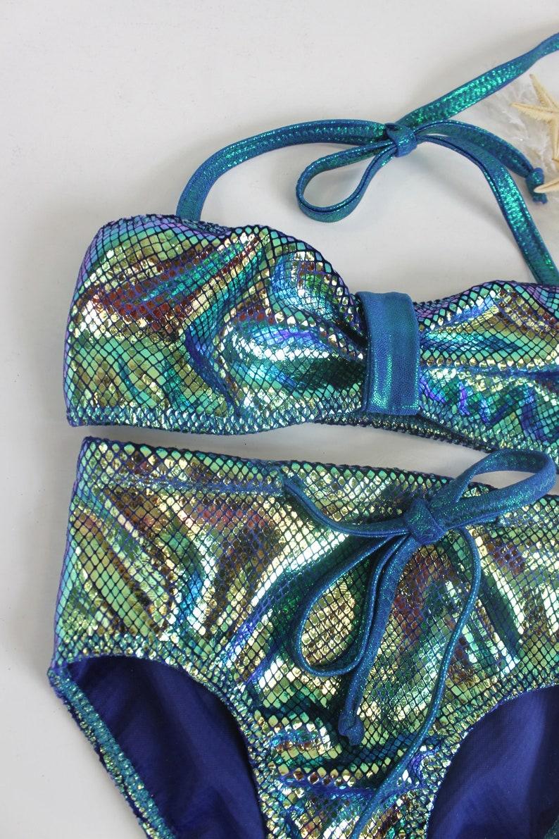 Iridescent Velvet Swimsuit Girls Mermaid Iridescent Bikini Girls Metallic High Rise Swimsuit Kids Quick Ship Swimsuit 3T