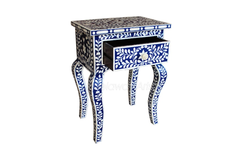 Handmade Bone Inlay Chest of 1 Drawer Bedside Table End Table Side Table Blue  Modern Center Table  Smart Table