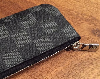 8d3cbf3e202e Fine Crafted Black INSPIRED LV Louis Vuitton Damier Pochette Cle Leather Key  Chain Pouch Wallet Business Card holder Coin Purse bag zipper