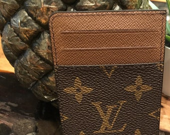 8b17f3894ef74 Fine Crafted INSPIRED LV Louis Vuitton Monogram Mens Womens Unisex Genuine  Leather Wallet Business Card holder