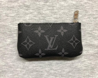 3f0936862669 Fine Crafted Handmade Louis Vuitton Inspired Genuine Leather KeyChain Purse Wallet  Business Card holder mini Coin Pouch Change bag w  zipper