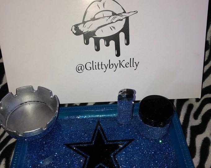 Cowboys glitter rolling tray