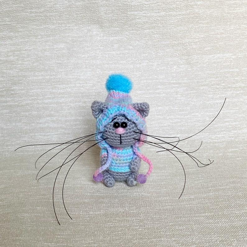Cat. Fluffy kitten Miniature stuffed animal Cat figurine image 0