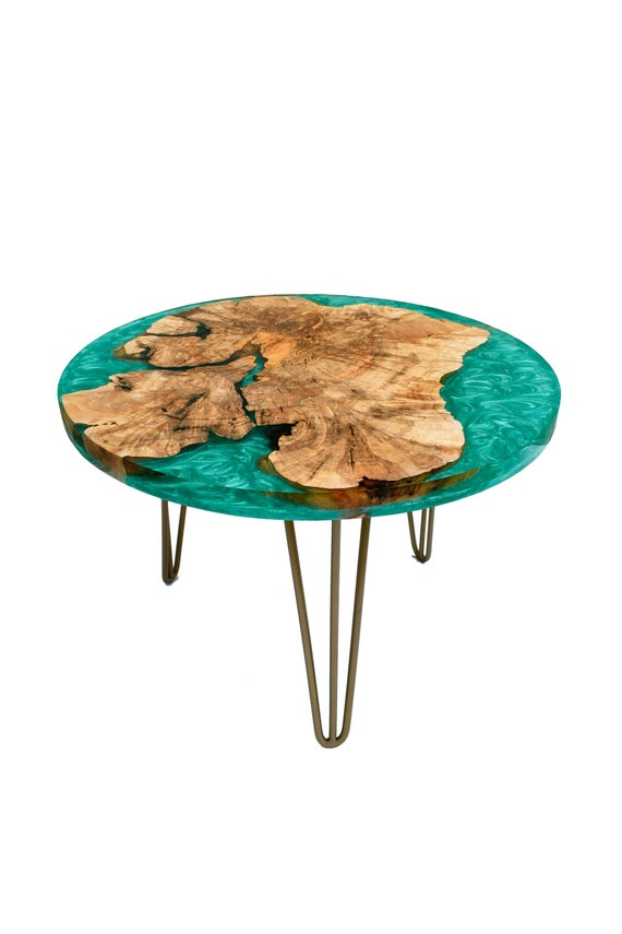 Wood Coffee Table With Epoxy Resin Gold Legs Modern Loft Etsy