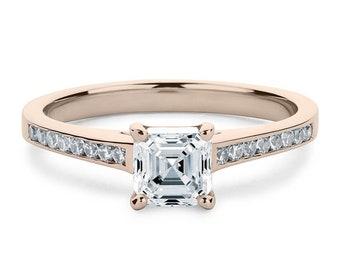 Solid WhiteYellowRose Gold Channel Set Accents Ring For Engagement Lovely 6 x 6 MM 1 Carat Asscher Cut Full White Moissanite 10K14K18K